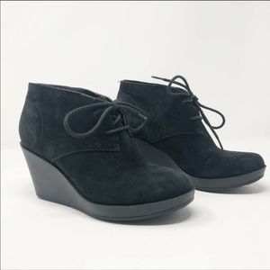 Cole Hana Black Suede Lace Up Booties